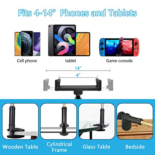 cshare Adjustable Tablet Stand Holder, Lazy Tablet Mount, Flexible Bracket Swing Arm Clamp Clip Phone Fire Tablet Stand for Bed Desk Kitchen Office Compatible with 4-14 inch iPad Pro, Samsung, NS