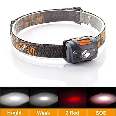 Grde Waterproof Headlamp, Light Weight Comfortable LED Head Torch, 300 Lumens Headlight As Walking/ Fishing/ Cycling/ Working Light