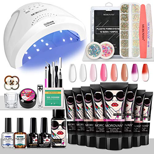 Morovan Poly Gel Nail Kit Builder Gel for Nails with 48W LED UV Nail Lamp Nail Extension Gel 8 Pcs 0.5oz with Slip Solution Nail Prep Dehydrator and Nail Primer Poly Nail Gel Kit Nail Art Supplies