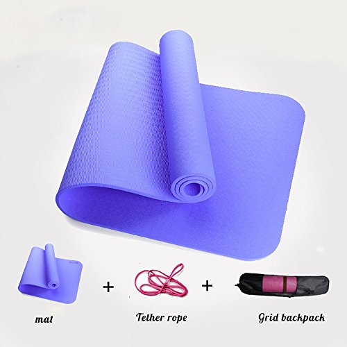 Lwj Tapis de yoga insipide tpe anti-dérapant débutant 0.23in/0.31in mince section fitness élargi étendu femelle Yoga Yoga tapis