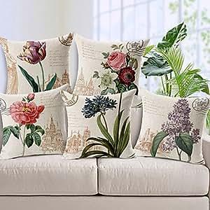 Generic-juego de 5 del país de lino/algodón estampado de flores del estilo de funda de almohada decorativa