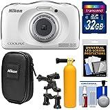Nikon Coolpix W100 Wi-Fi Shock & Waterproof Digital Camera (White) with 32GB Card + Case + Floating Handle + Bike Mount + Kit