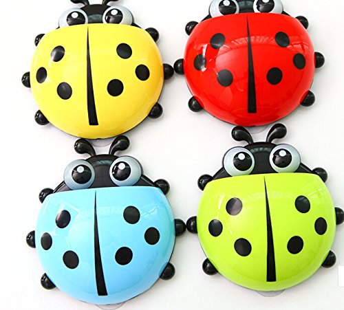 IFASHION 4pcs of Ladybug Powerful Suction Toothbrush Holder (Random color delivery)