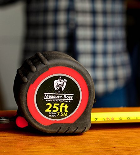 Measure Boss Pro Tape Measure Heavy Duty - 25ft Length 32mm Blade Width For the Serious Handyman