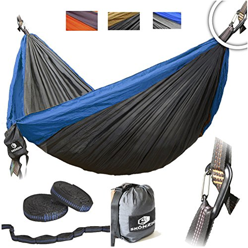 Skonzig Double Camping Hammock - Lightweight Deluxe Portable Parachute Nylon - Include Heavy-Duty Carabiners & Tree Straps. (ROYAL BLUE/GREY, DOUBLE)