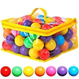 120 Count 7 Colors Free BPA Free Crush Proof Plastic Balls for Ball Pit Balls for Toddlers Kids Toys