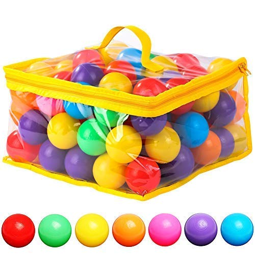 120 Count 7 Colors Free BPA Free Crush Proof Plastic Balls for Ball Pit Balls for Toddlers Kids Toys -