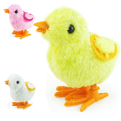 5 Pcs Fuzzy Chick Plush Stuffed Toy Hopping Wind Up Toy Clockwork Chain Chicken