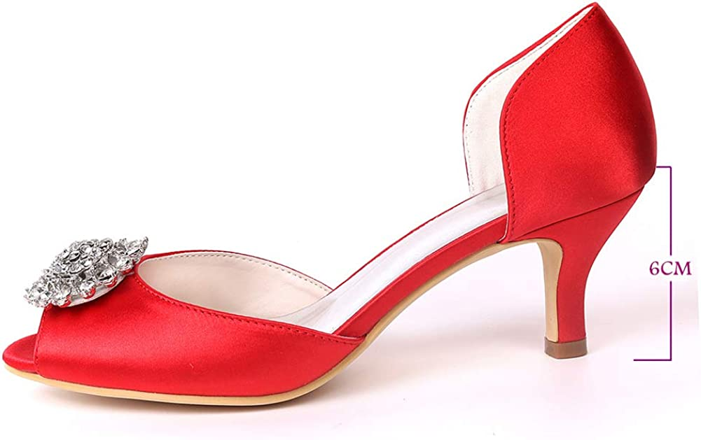 ZM-Shoes Femmes Peep Toe Sandales Strass Talons Bas Slip on Bal De Promo Soirée Chaussures De Mariée De Mariage Silver