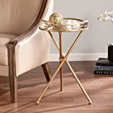 Indoor Multi-Function Accent Table Study Computer Home Office Desk Bedroom Living Room Modern Style End Table Sofa Side Table Coffee Table Metal Mirror Accents