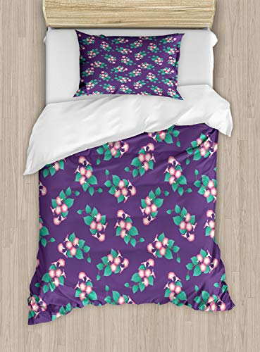 Lunarable Floral Duvet Cover Set Twin Size, Pretty Blooming Morning Glory Arrangements with Leaves, Decorative 2 Piece Bedding Set with 1 Pillow Sham, Dark Seafoam Pastel Pink Quartz White