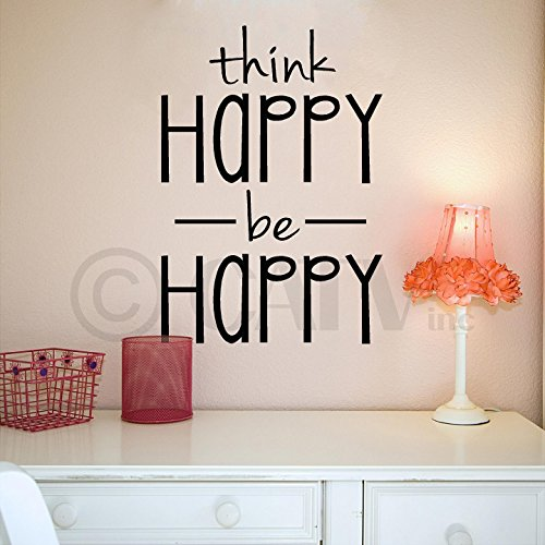 Think Happy Be Happy Vinyl Lettering Wall Decal Sticker (12.5