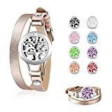 CLÉMENT & HILTON Tree of Life Aromatherapy Locket Essential Oil Diffuser Bracelet Adjustable Rose Gold Leather Wrap with 8 Color Reusable Pads