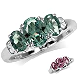 3-Stone Simulated Color Change Alexandrite White Gold Plated 925 Sterling Silver Ring