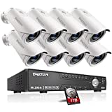 TMEZON HD 1080N 16 Channel AHD Security System with 8 x 2.0MP Cameras 130ft Night Vision 2.8-12mm Zoom Lens Outdoor Video Surveillance DVR Kits 1TB HDD