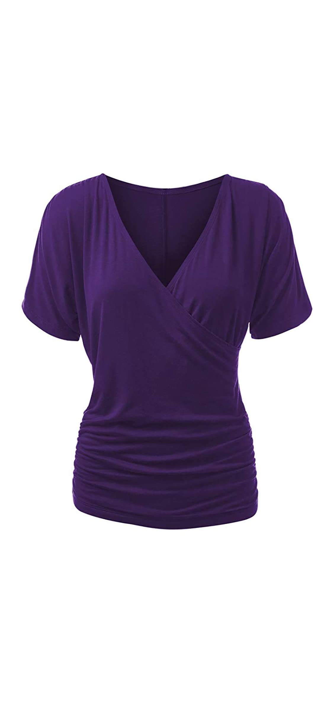 Women's Plus Size Crossover Top V Neck Wrap Front Drape Tops