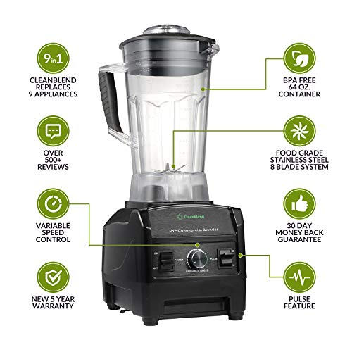 Blender By Cleanblend: Smoothie Blender, Commercial Blender, Mixer, 64 Ounce BPA Free Jar, Stainless Steel 8 Blade System, Variable Speed, Pulse, 3 HP 1800 Watt Motor Comes With a Tamper and Spatula