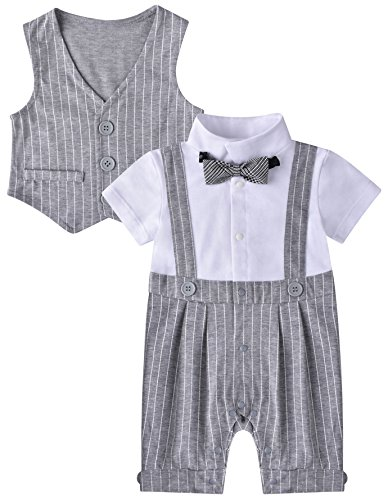 ZOEREA Baby Boy Gentleman Rompers Striped Toddler Suit 2pcs Outfit Grey, 80CM/6-9 Months, Grey