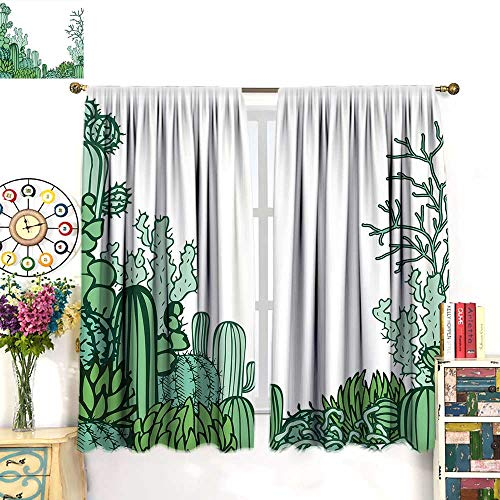 Anniutwo Cactus Decor Blackout Curtain Arizona Desert Themed Doodle Cactus Staghorn Buckhorn Ocotillo Room Darkening Curtains Green Light Green Seafoam W72 x L84 inch
