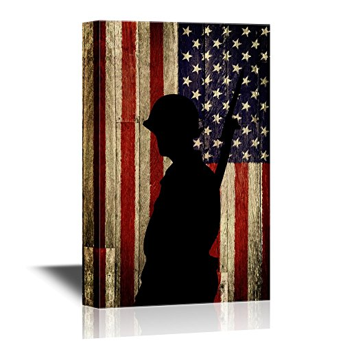 Military Family Silhouette of a Soldier on American Flag Background