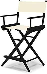 Telescope Casual World Famous Counter Height Director Chair, Natural with Black Frame