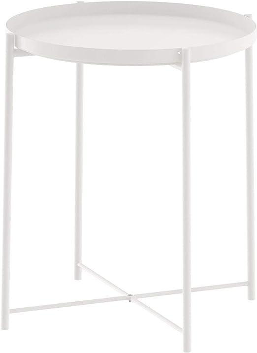 Amazon De Unbekannt Ikea Beistelltisch Gladom Metall Tisch Mit Abnehmbaren Tablett Weiss 52 5cm