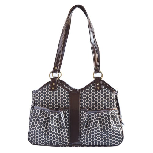 Petote Metro Classic Dog Carrier, Espresso Dots, Large by Petote