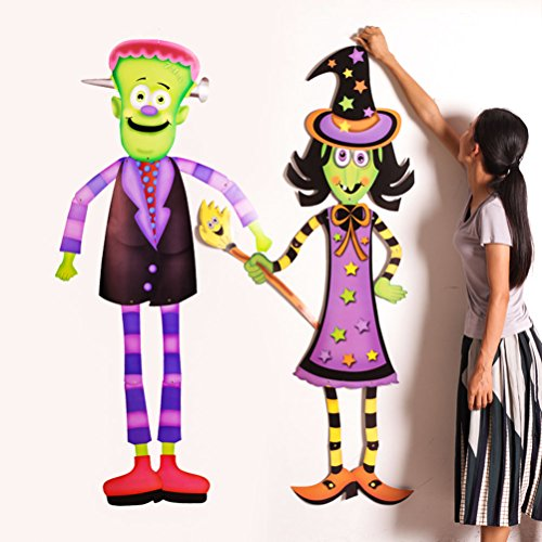 Halloween Witch Ghosts Siren Vampires Skeletons Pumpkin Paper Pendants Bars Shopping Malls Wall Hanging Decorations Props (Pumpkin - Shopping Shore Mall