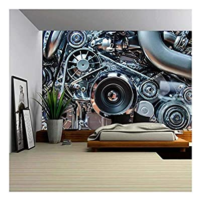 Made to Last, Wonderful Piece of Art, Car Engine Concept of Automobile Motor with Metal Chrome Plastic Parts