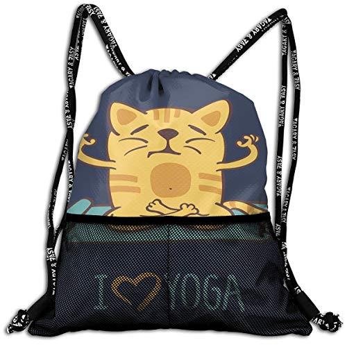 (Drawstring Backpack bags, I Love Yoga Theme Cute Cartoon Cat Exercise Mat Lotus Position )