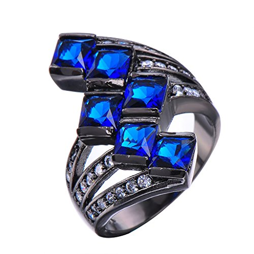 CHICFashion Wedding Jewelry Blue Sapphire Finger Ring Vintage Black Gold Filled White CZ Engagement Rings
