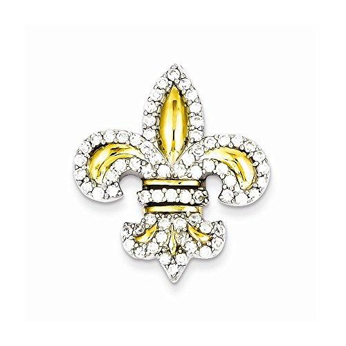 Sterling Silver CZ Fleur de Lis w/Flash Gold-Plated Slide Pendant