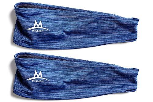 (Mission Enduracool Lockdown Cooling Headband, Royal Blue Space Dye (2 Pack)