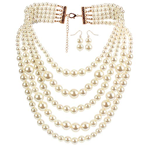 - HaHaGirl Women's Multi-Strand Simulated White Pearl Strands Necklaces Women Jewelry