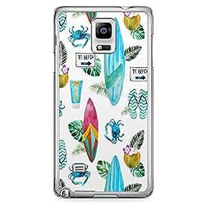 Samsung Note 4 Transparent Edge Phone Case Beach Phone Case Beach Life Phone Case Surfboard 2D Note 4 Cover with Transparent Frame