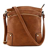 Triple Zip Pocket Large Crossbody Bag Brown