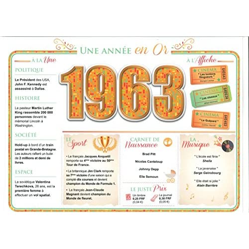 Set de Table : 1963 - Une Année en Or