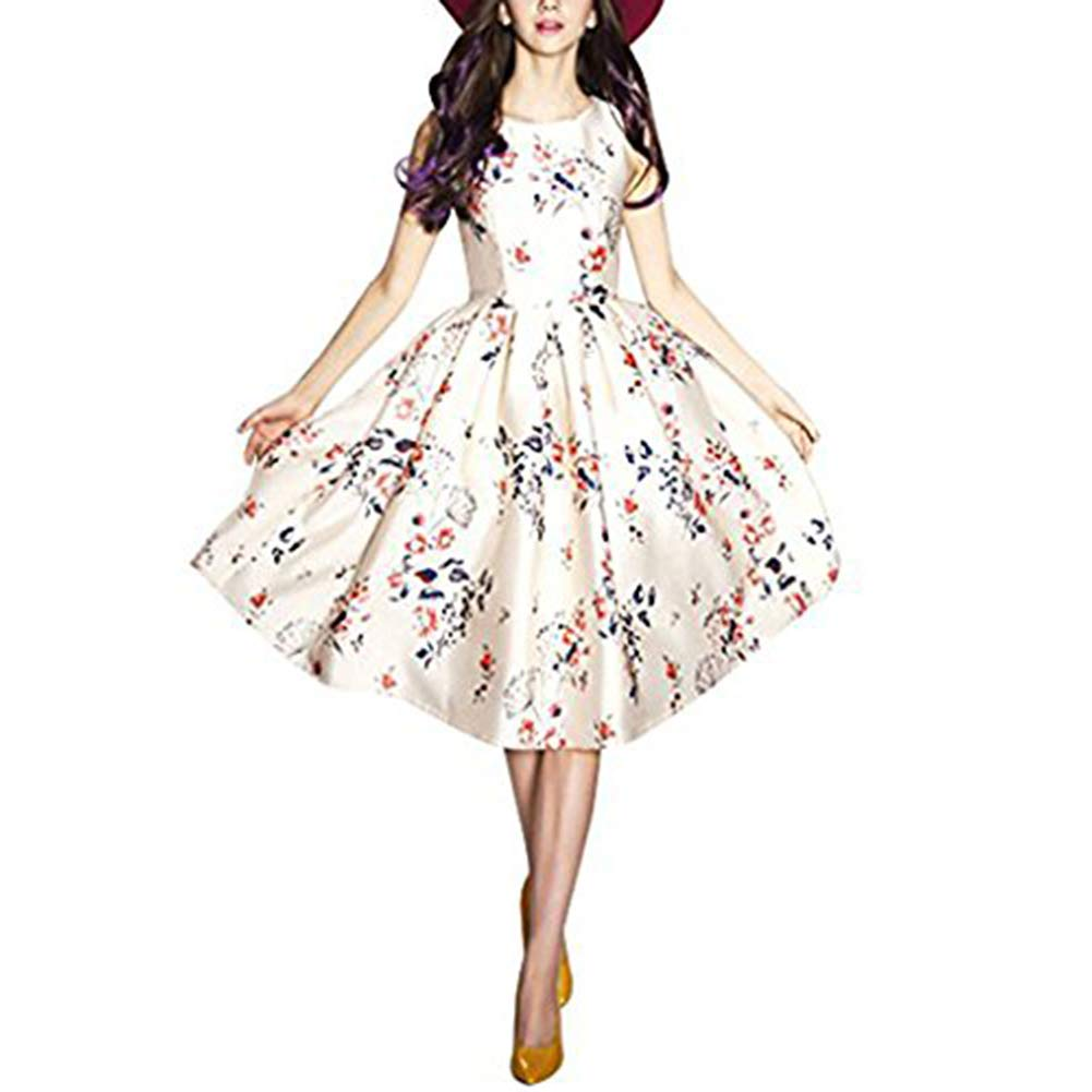 6e700c9074 BUENOS NINOS Women's Sleeveless Flower Printed Vintage Cocktail Flare  Dresses