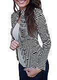 Yissang Women's Striped Decor Button Open Blazer Long Sleeve Black Small