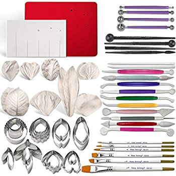 Gum Paste Flowers and Leaves Fondant Tools Kit-8set Metal Flower Cutter 6set Veining Silicone Molds 1 Veining Board 1 Foam Pad 7 Modelling Tools 6 Brushes 4 ...