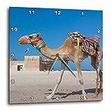 3dRose Danita Delimont - Camels - Qatar, Al Zubara, Al Zubara Fort, built in 1938, with camel - 10x10 Wall Clock (dpp_257257_1)