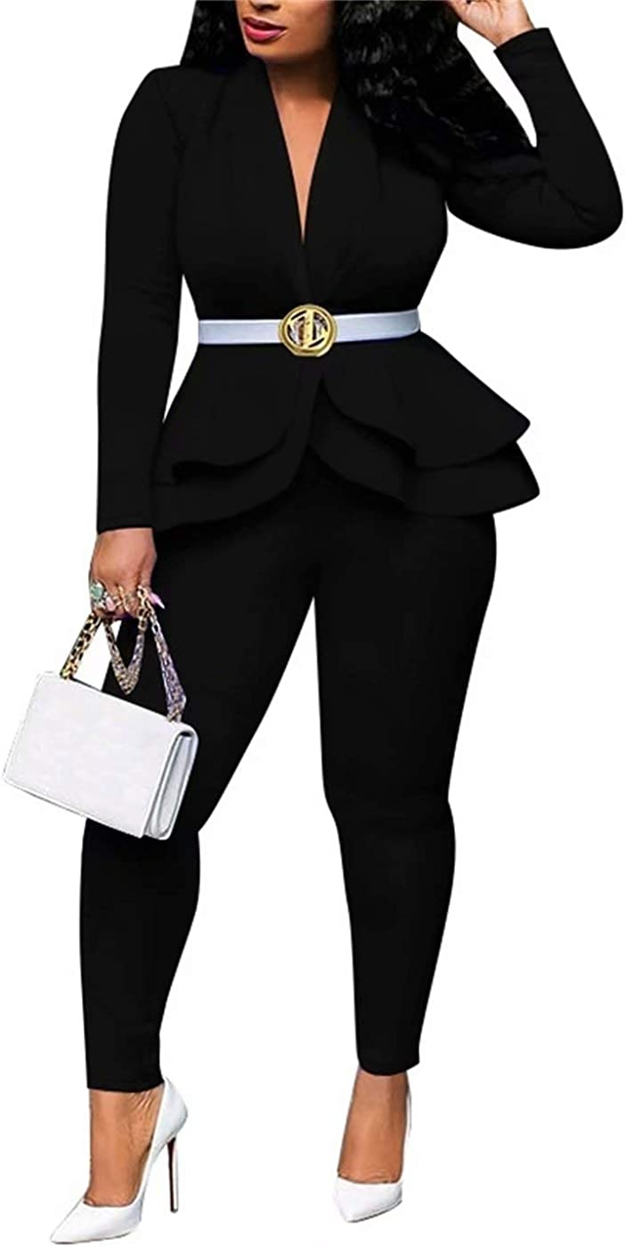 Womens Casual 2 Piece Outfits,Long Sleeve Open Front Blazer Jacket and Pants Set