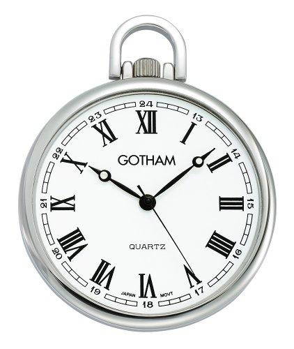 (Gotham Men's Silver-Tone Ultra Thin Railroad Open Face Quartz Pocket Watch # GWC15028SR)