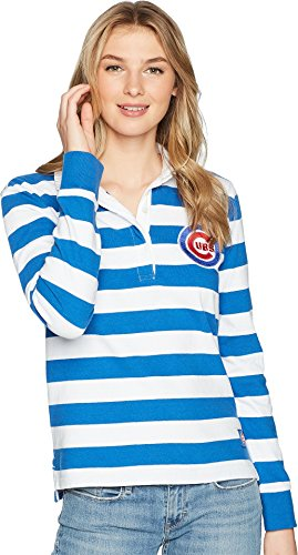 Levi's® Womens Women's Chicago Cubs Striped Rugby Shirt Blue Large Classic Fit Striped Rugby