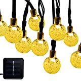 Dcoo Solar Powered Fairy Crystal String Lights for Outdoor Patio Lawn Landscape Garden Home Wedding Holiday and Christmas decorations[19.7feet - 6m - 30LED-Warm White]