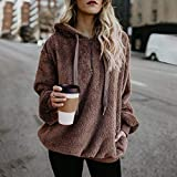 Sunhusing Women's Solid Color Long Sleeve Hooded Jacket Warm Fluffy Winter Top Pullover Jumper