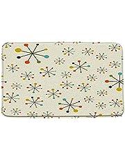 "Mid Century Bath Mat Colorful Retro Absctract Geometric Pattern Space 1950S Iconic Atomic Starbursts Microfiber Memory Foam Bathroom Decor Rug Doormat Kitchen Toilet Floor Rug,19.7"" x 31.5"""