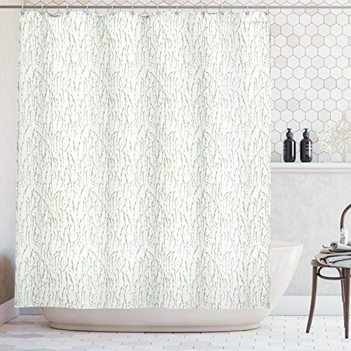 Ambesonne Green Shower Curtain, Farm Life Olive Garden Mediterranean Icon Peace Leaf Branch Image Print, Fabric Bathroom Decor Set with Hooks, 75 Inches Long, Fern Green and White