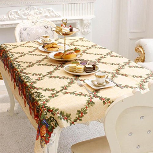 - Gotd Christmas Rectangular Fabric Cloth Tablecloth 150x180cm Cotton blend (Color C)