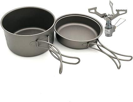Acampar utensilios de cocina de titanio Cookset con 2700W ...